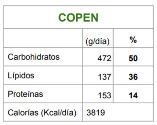 Listado de macronutrientes Copen
